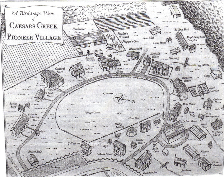 Hand drawn map of the Pioneer Village