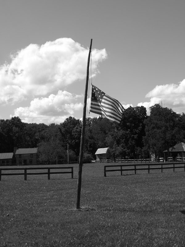 Black and White Flag at the Pioneer Village